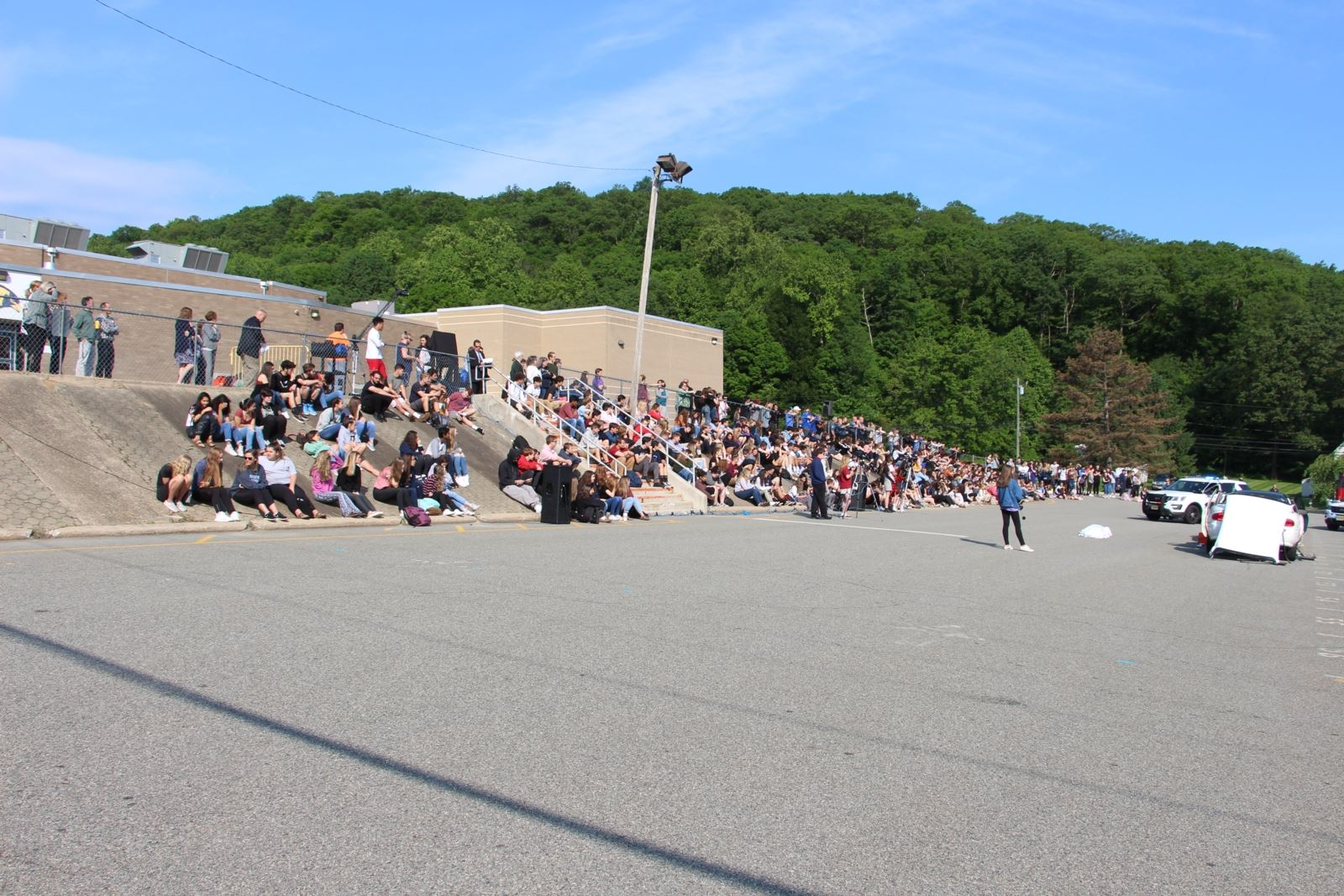 Crowd of Students Watching Drunk Driving Drill