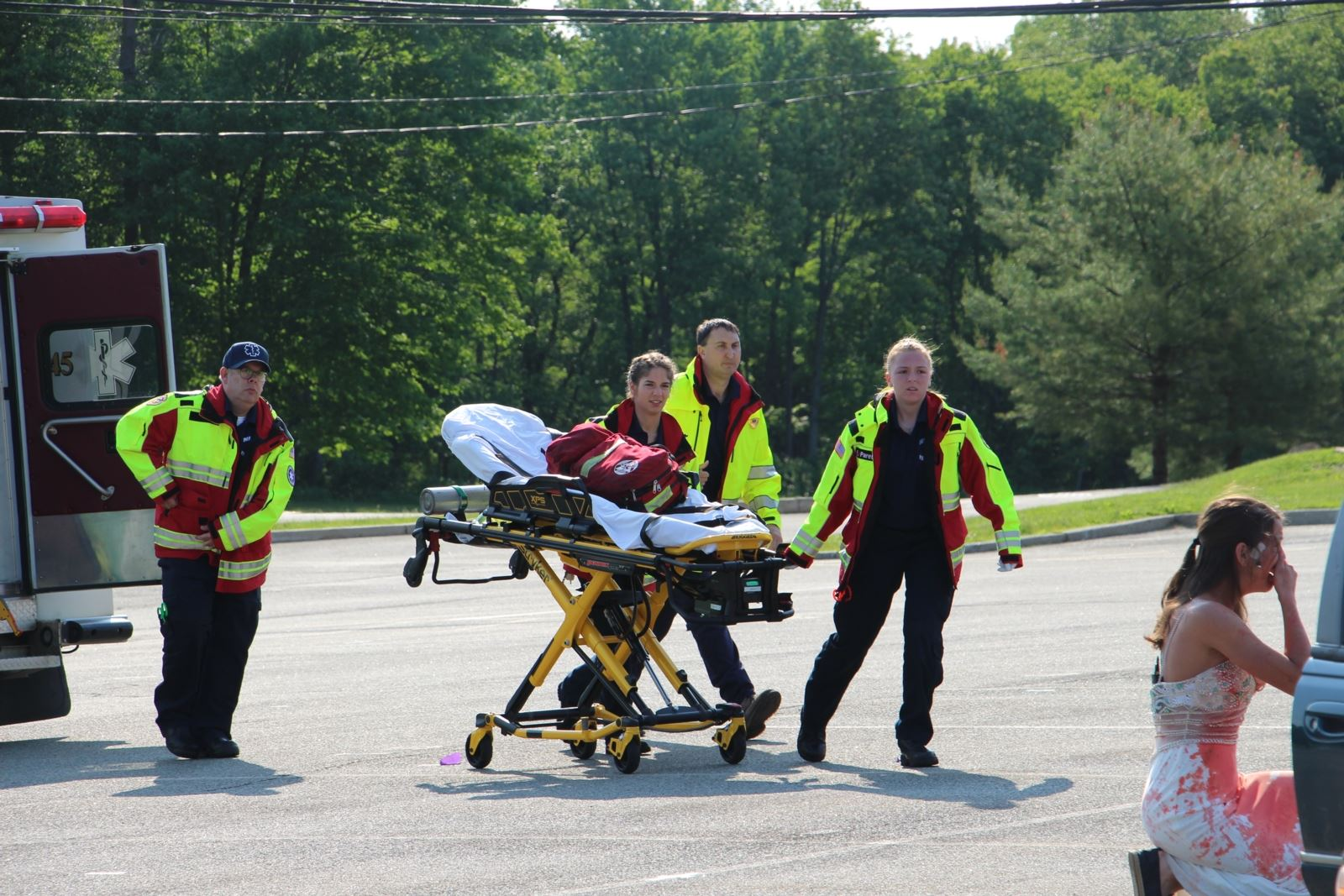 Emergency Crews with Stretcher at the Accident