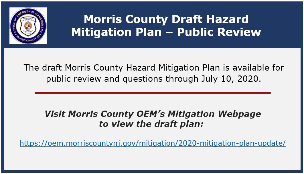 Morris County Draft Hazard Mitigation Plan - Public Review